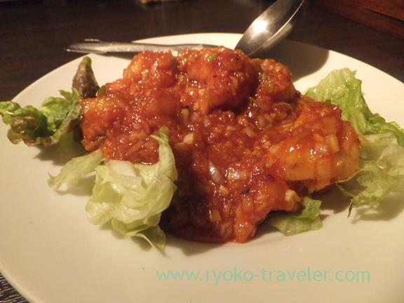 Stir-fried shrimp in chili sauce, Kuronekoyoru, Roppongi