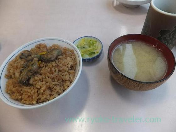 Oyster rice and miso soup and pickled vegetables, Isonoya (Tsukiji Market)