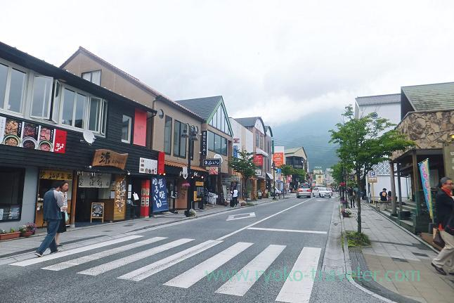 Street in front of Yufuin station, Yufuin (Oita 2015 Spring)